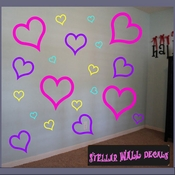 16 Heart Hearts Outlined Vinyl Wall Decal Stickers Kit SWD