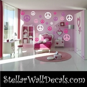 16 Peace Signs Vinyl Wall Decal Stickers Kit SWD