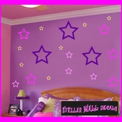 16 Star Stars Outlined Anarchy Vinyl Wall Decal Stickers Kit SWD
