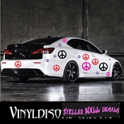 20 Peace Signs Vinyl Wall Decal Stickers Kit SWD