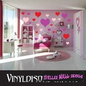 216 Heart Hearts Vinyl Wall Decal Stickers Kit SWD