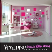 216 Square Squares Vinyl Wall Decal Stickers Kit SWD