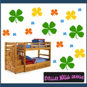 24 Four Leaf Clover Clovers Vinyl Wall Decal Stickers Kit SWD