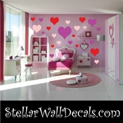 24 Heart Hearts Vinyl Wall Decal Stickers Kit SWD
