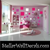 24 Square Squares Vinyl Wall Decal Stickers Kit SWD