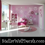 52 Happy Face Vinyl Wall Decal Stickers Kit SWD