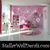 52 Heart Hearts Outlined Vinyl Wall Decal Stickers Kit SWD