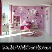 52 Star Stars Outlined Anarchy Vinyl Wall Decal Stickers Kit SWD
