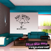Baby Shower Umbrella Rain Celebrations Wall Decals - Wall Quotes - Wall Murals CE024BabyshowerVIII SWD