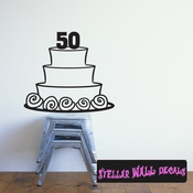 Birthday Age Cake 50 years Anniversary Celebrations Wall Decals - Wall Quotes - Wall Murals CAKE2VIII SWD