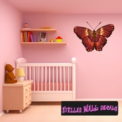 Butterfly Wall Decal - Wall Fabric - Repositionable Decal - Vinyl Car Sticker - usc010