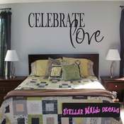 Celebrate Love Valentines text Celebrations Wall Decals - Wall Quotes - Wall Murals CE043CelebrateVIII SWD