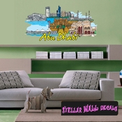Famous City Abu Dhabi Wall Decal - Wall Fabric - Repositionable Decal - Vinyl Car Sticker - usc085