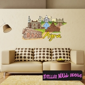 Famous City Agra Wall Decal - Wall Fabric - Repositionable Decal - Vinyl Car Sticker - usc069