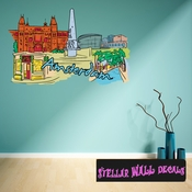 Famous City Amsterdam Wall Decal - Wall Fabric - Repositionable Decal - Vinyl Car Sticker - usc008