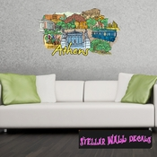 Famous City Athens Wall Decal - Wall Fabric - Repositionable Decal - Vinyl Car Sticker - usc037