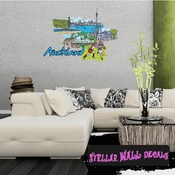 Famous City Auckland Wall Decal - Wall Fabric - Repositionable Decal - Vinyl Car Sticker - usc091