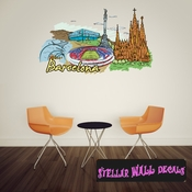 Famous City Barcelona Wall Decal - Wall Fabric - Repositionable Decal - Vinyl Car Sticker - usc009