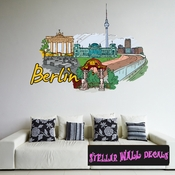 Famous City Berlin Wall Decal - Wall Fabric - Repositionable Decal - Vinyl Car Sticker - usc038