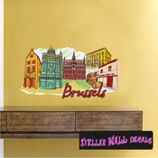 Famous City Brussels Wall Decal - Wall Fabric - Repositionable Decal - Vinyl Car Sticker - usc043