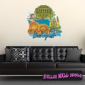 Famous City Budapest Wall Decal - Wall Fabric - Repositionable Decal - Vinyl Car Sticker - usc032