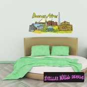Famous City Buenos Aires Wall Decal - Wall Fabric - Repositionable Decal - Vinyl Car Sticker - usc044