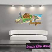 Famous City Burgas Wall Decal - Wall Fabric - Repositionable Decal - Vinyl Car Sticker - usc092