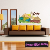 Famous City Cairo Egypt Wall Decal - Wall Fabric - Repositionable Decal - Vinyl Car Sticker - usc019