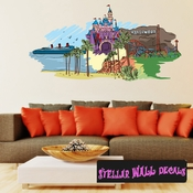 Famous City California Wall Decal - Wall Fabric - Repositionable Decal - Vinyl Car Sticker - usc018