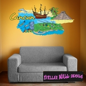 Famous City Cancun Wall Decal - Wall Fabric - Repositionable Decal - Vinyl Car Sticker - usc049