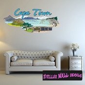 Famous City Cape Town Wall Decal - Wall Fabric - Repositionable Decal - Vinyl Car Sticker - usc075