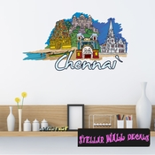 Famous City Chennai Wall Decal - Wall Fabric - Repositionable Decal - Vinyl Car Sticker - usc061