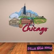 Famous City Chicago Wall Decal - Wall Fabric - Repositionable Decal - Vinyl Car Sticker - usc079