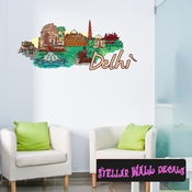 Famous City Delhi Wall Decal - Wall Fabric - Repositionable Decal - Vinyl Car Sticker - usc050
