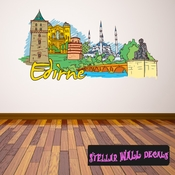 Famous City Edirne Wall Decal - Wall Fabric - Repositionable Decal - Vinyl Car Sticker - usc045