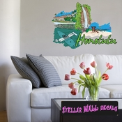 Famous City Honolulu Wall Decal - Wall Fabric - Repositionable Decal - Vinyl Car Sticker - usc078