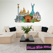 Famous City Kier Wall Decal - Wall Fabric - Repositionable Decal - Vinyl Car Sticker - usc021