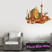 Famous City Kuala Lumpur Wall Decal - Wall Fabric - Repositionable Decal - Vinyl Car Sticker - usc004