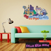 Famous City Las Vegas Wall Decal - Wall Fabric - Repositionable Decal - Vinyl Car Sticker - usc017
