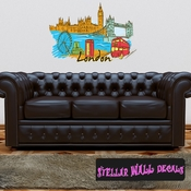 Famous City London Wall Decal - Wall Fabric - Repositionable Decal - Vinyl Car Sticker - usc010