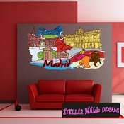 Famous City Madrid Wall Decal - Wall Fabric - Repositionable Decal - Vinyl Car Sticker - usc028