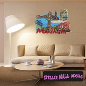 Famous City Manchester Wall Decal - Wall Fabric - Repositionable Decal - Vinyl Car Sticker - usc087