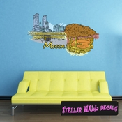 Famous City Mecca Wall Decal - Wall Fabric - Repositionable Decal - Vinyl Car Sticker - usc015