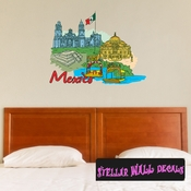 Famous City Mexico Wall Decal - Wall Fabric - Repositionable Decal - Vinyl Car Sticker - usc046