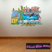 Famous City Miami Wall Decal - Wall Fabric - Repositionable Decal - Vinyl Car Sticker - usc013