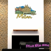 Famous City Milan Wall Decal - Wall Fabric - Repositionable Decal - Vinyl Car Sticker - usc064