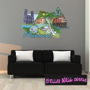 Famous City Montreal Wall Decal - Wall Fabric - Repositionable Decal - Vinyl Car Sticker - usc047