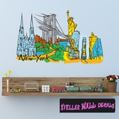 Famous City New York Wall Decal - Wall Fabric - Repositionable Decal - Vinyl Car Sticker - usc011