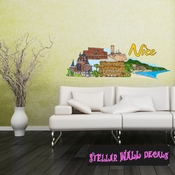 Famous City Nice Wall Decal - Wall Fabric - Repositionable Decal - Vinyl Car Sticker - usc090