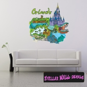 Famous City Orlando Wall Decal - Wall Fabric - Repositionable Decal - Vinyl Car Sticker - usc035